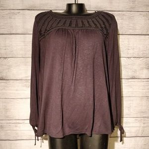 Black Long Sleeve Top with Crochet Detail